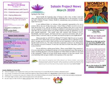 March 2020 Newsletter